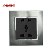 цена на Mvava 5 Pin Outlet Universal Power Wall Socket 10A  110-250V Brushed Silver Satin Metal 2 Pin 3 Pin Plug EU UK US Socket