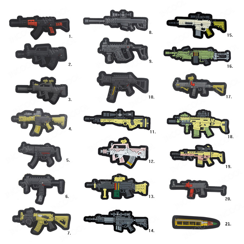 3D PVC Gun Shape Military Morale Patch Fastener Hook Patch Combat Rubber Badges For Clothing Bag Backpack Jackets Drop Shipping