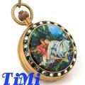 100% Cobre Antigo Relógio de Bolso Mecânica Jóias Art Pintura Caso Brown Dial