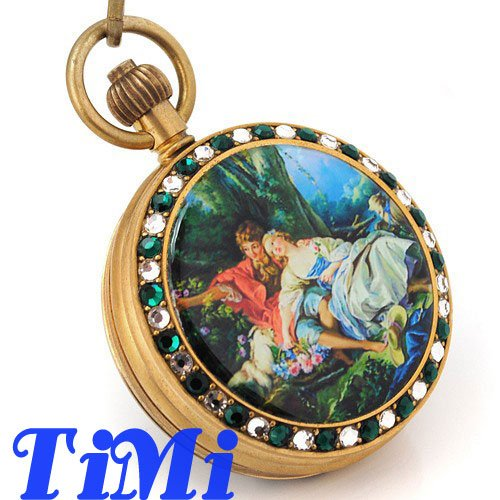 100% Copper Antique Pocket Watch Mechanical Jewelry Art Painting Case Brown Dial
