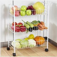 Household fruits & vegetables shelf storage rack with wheels The kitchen dishes storage basket