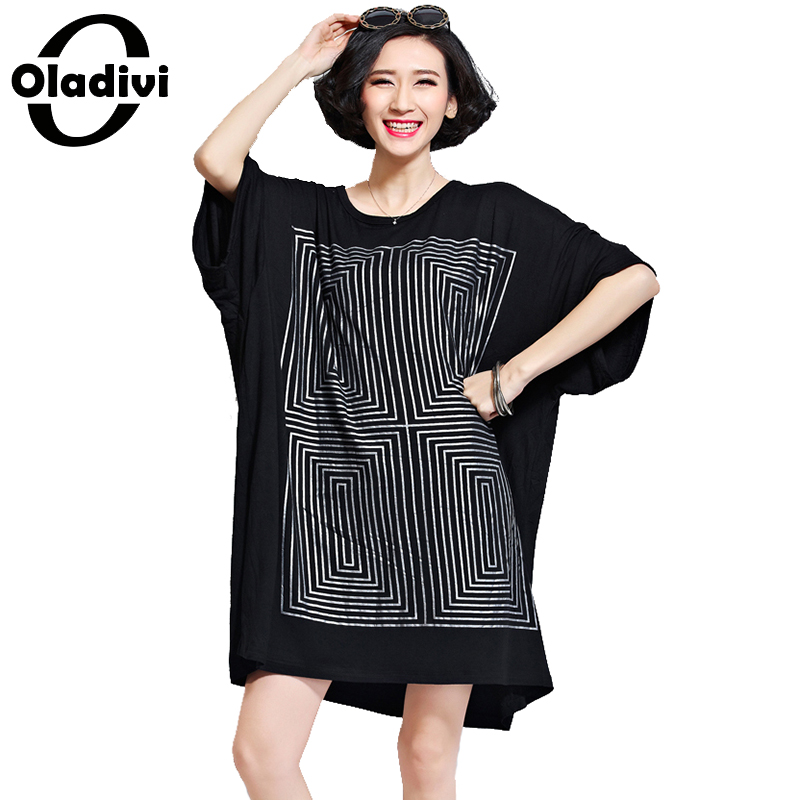 Oladivi Oversized Shirt Dresses Women Fashion Print Long T-Shirt Plus Size Ladies Tops Tees Black Cotton Dress Female Tunics 8XL