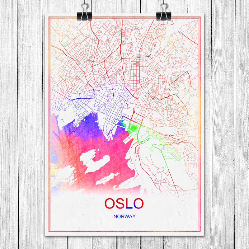 Colorful World City Map PRAGUE Czech Republic Print Poster Abstract ...