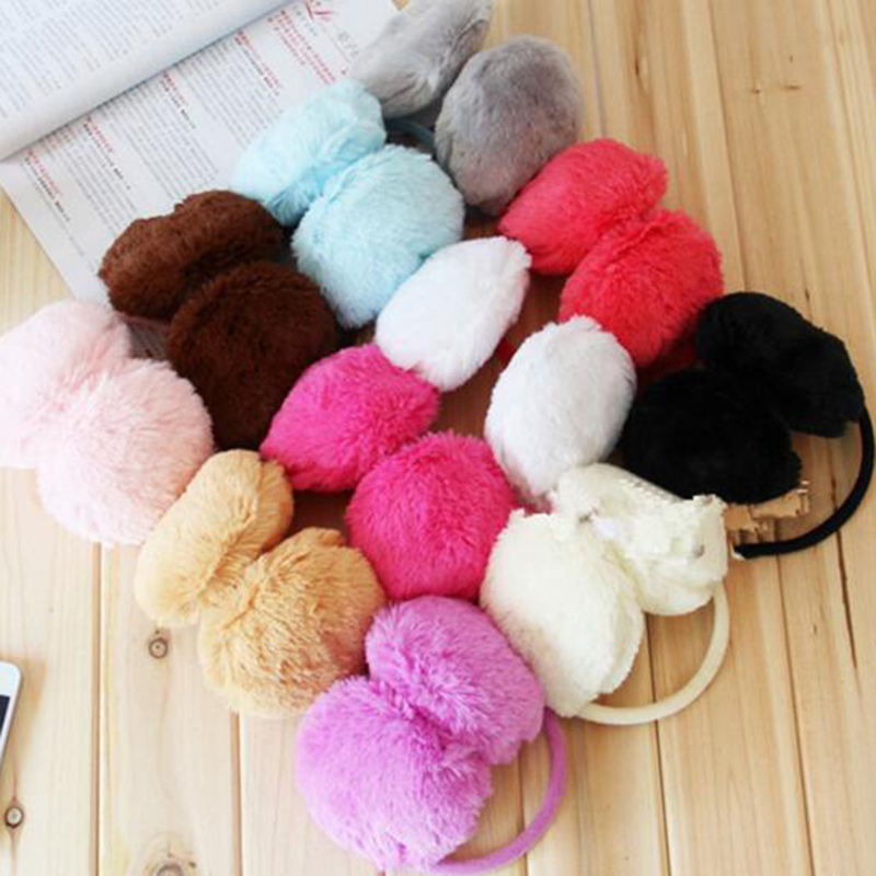 Hot Selling Lovely Pure Color Women Girls Warm Earmuffs Plush Cute U Pick Ear Cover Accessories Unisex Men Top Quality Ear Muffs