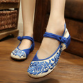 New Arrive Women canvas embroidery flats Blue and white old Beijing folk embroidered floral shoes walking dance shoes 34-41