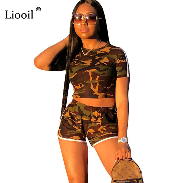 Liooil Two Piece Set Camouflage Print Rompers Womens Jumpsuit Shorts Sexy  Club O Neck Stripe Jumpsuits e33600e8e