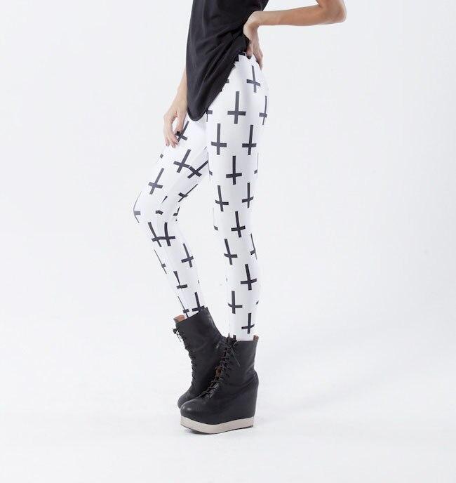 Hot 3163 sexy girl women black white Christ Jesus cross 3D prints running elastic fitness sport leggings Yoga Pants