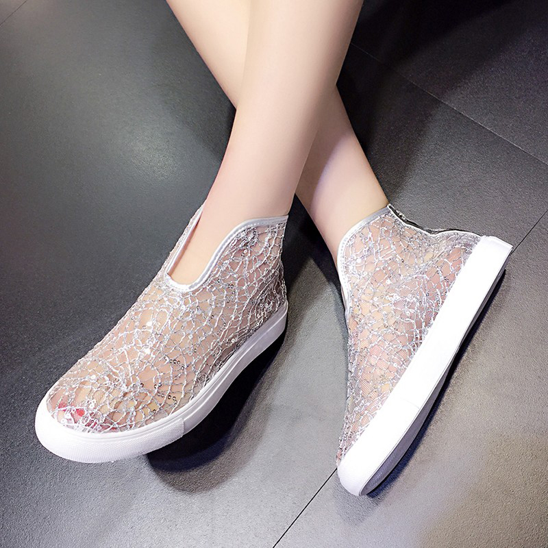 Women Gladiator Sandals Breathable Mesh Flat Sandals For Women 2019 Summer Silvery/Black Fashion Lace Beach Sandal Ladies Shoes