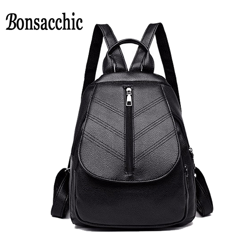 Bonsacchic Black Women Backpack Artificial Leather Anti Theft Backpacks For Teenager Girls Schoolbag Back Pack Travel Backpack