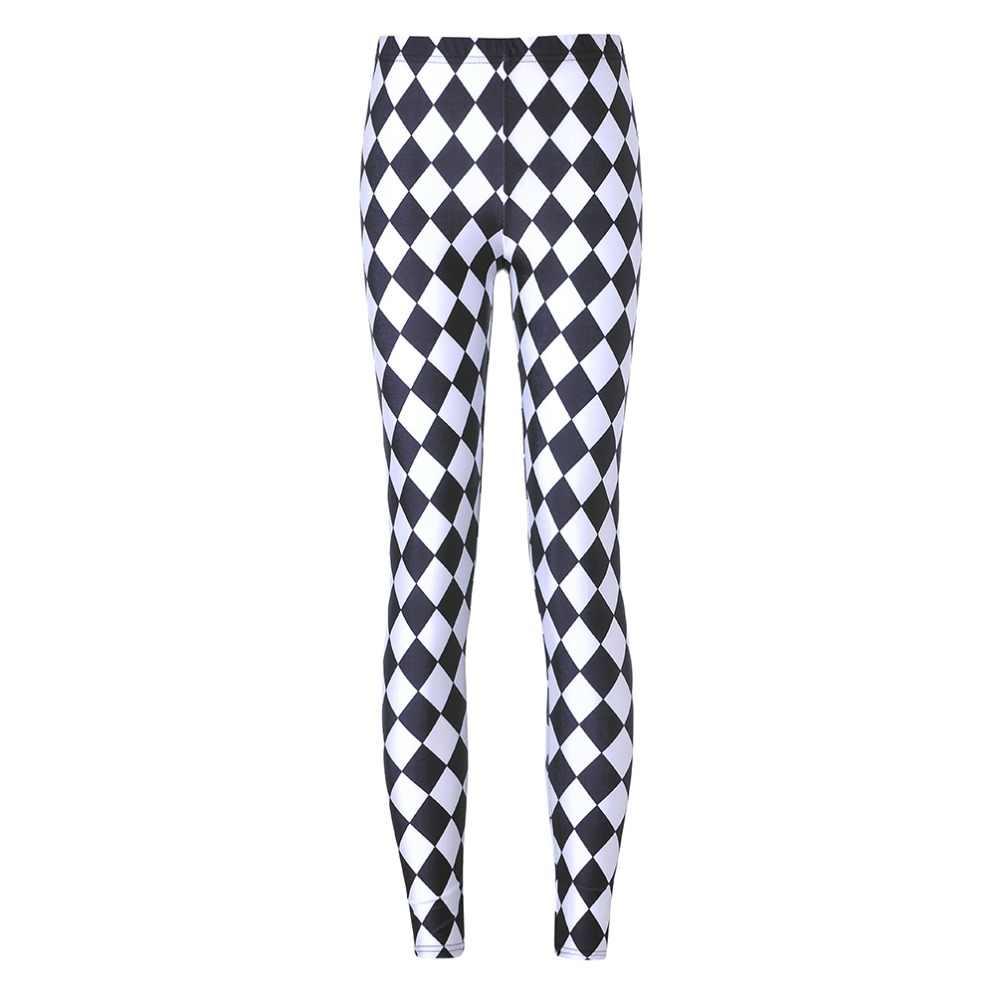 1285d6b44bd90 Fashion Women Leggings Galaxy Black white Check Painted Leggings Good  Elastic Women Smooth Material Ladies Pants