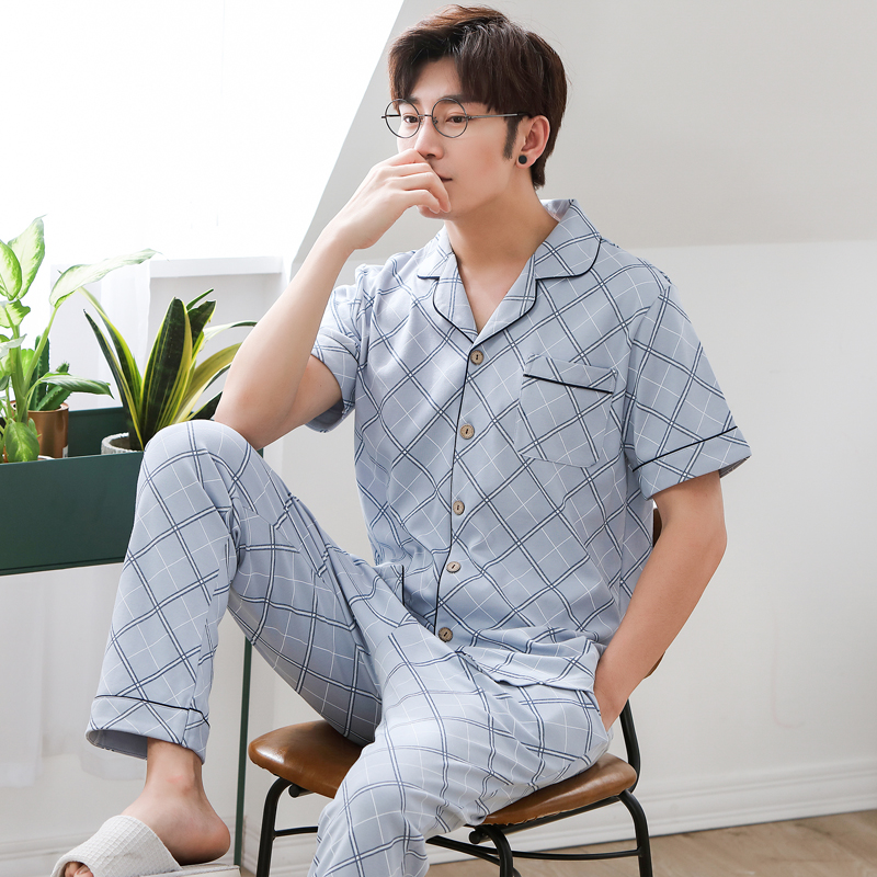 Men Pajama Set Nightwear 2019 Summer Cotton Short-sleeve Male Sleepwear Sets Plaid Prints Pyjamas Sets Thin Pajamas Casual Home