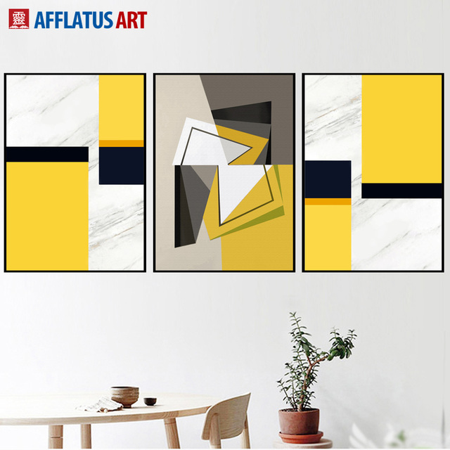 AFFLATUS Geometric Shape Landscape Wall Art Canvas Painting Nordic ...