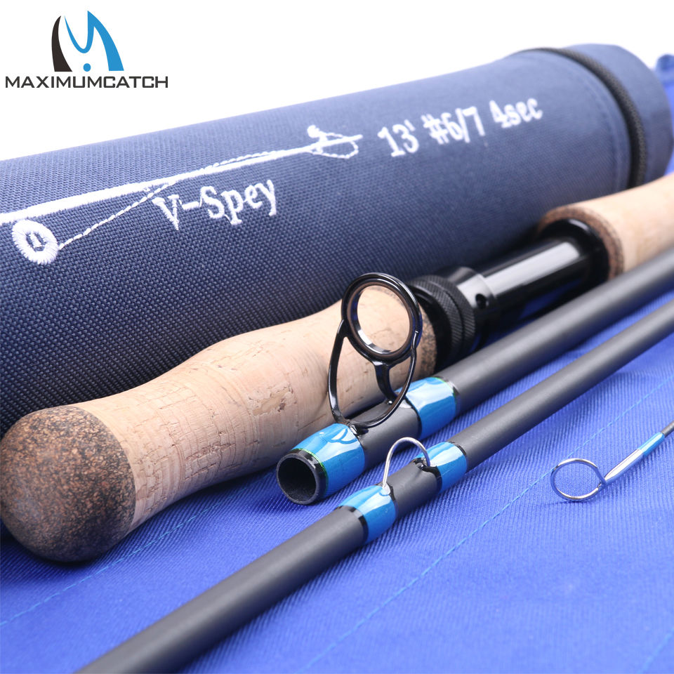 Maximumcatch Spey Fly Rod 12'6''/12'9''/13'/14' Fly Fishing Rod Medium-Fast Action With Cordura Tube Carbon Fly Rod maximumcatch spey fly fishing rod 12 5ft 13ft 6 7 8 9wt 4pcs with a aluminum rod tube spey fly rod