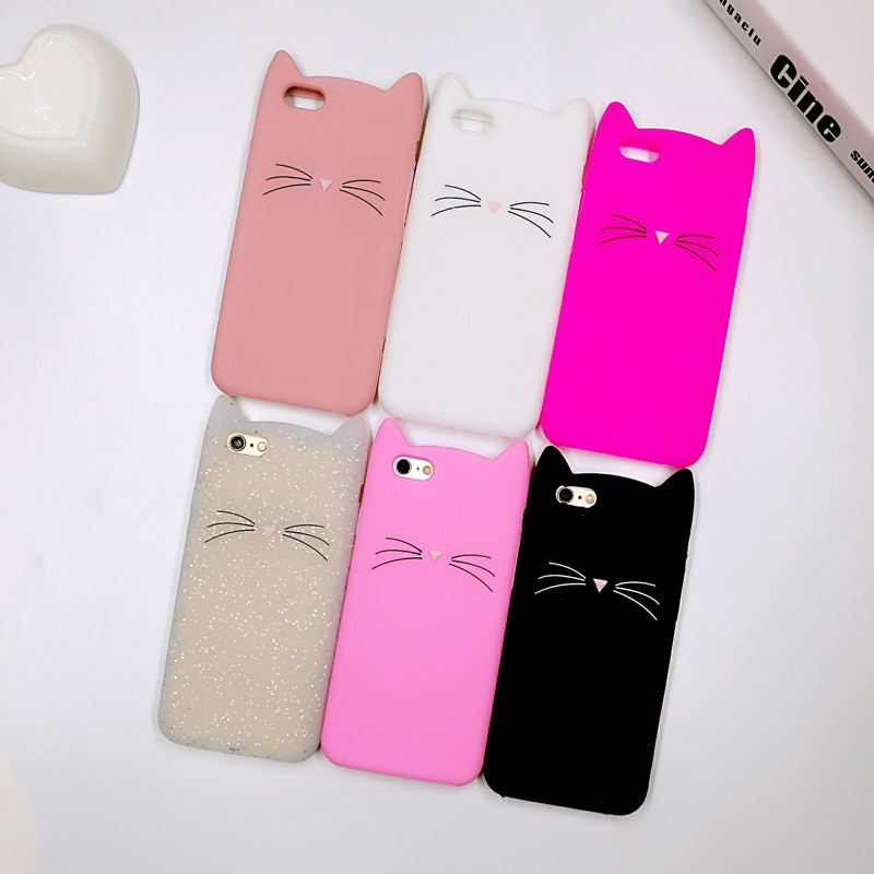 Crazy Cow 3D Fashion Cute Cartoon Animal Beard Cat Ears Cases For iPhone 5 5s Se 6 6s 6 Plus 7 7Plus Cover Soft Silicone Coque