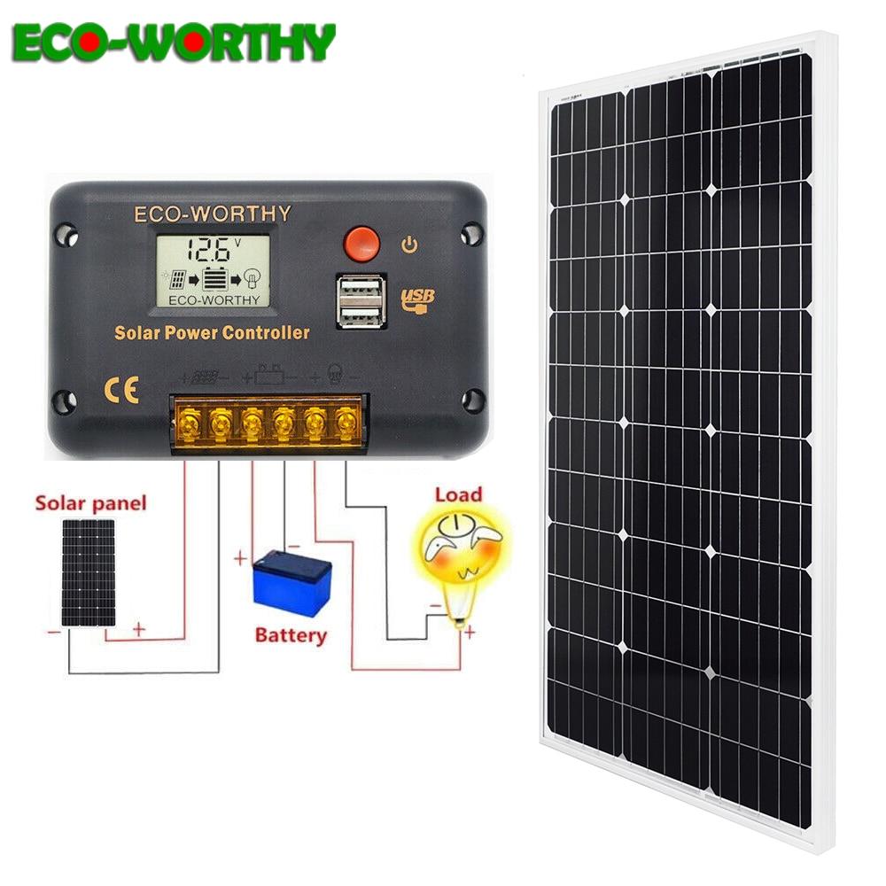 ECO-WORTHY 50W 12Volt Off Grid Monocristallino Portatile Pieghevole Pannello Solare Valigia con Regolatore di Carica