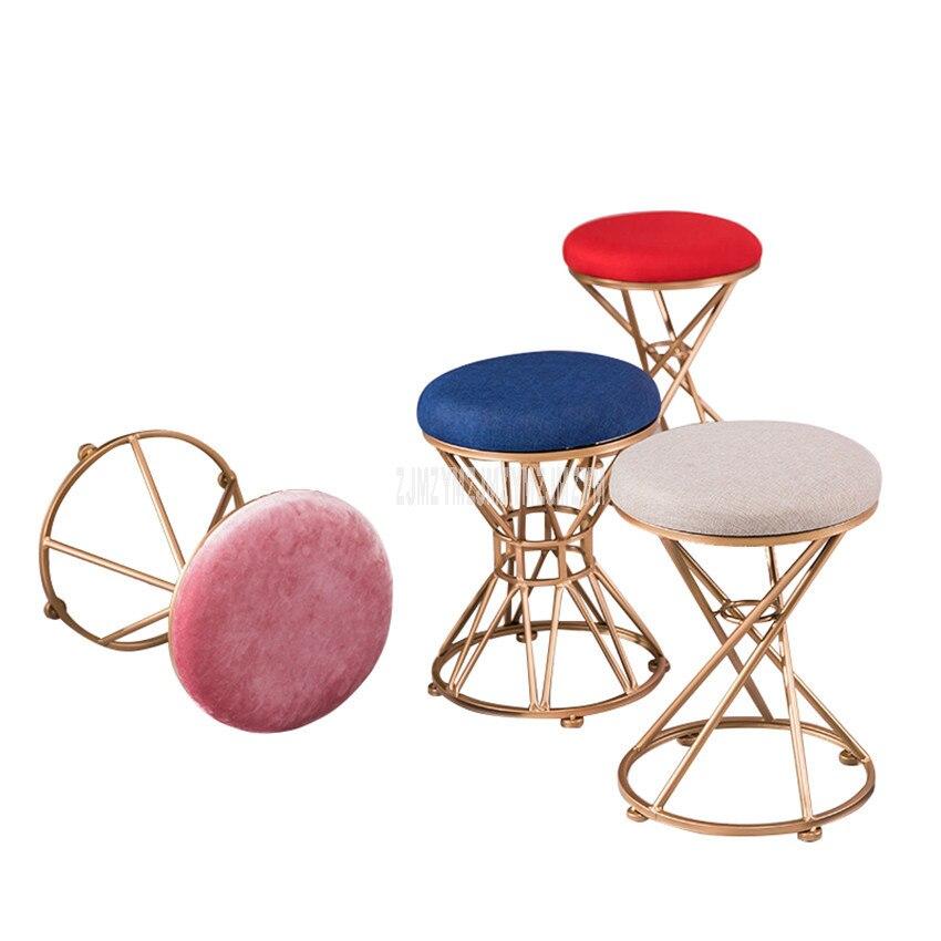 Tabouret de maquillage rond pouf rembourré coussin Louis mode minimaliste Style européen fer Art chambre Dressing tabouret meubles