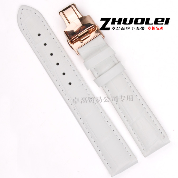 d86651772ace 18mm New High Quality White Crocodile Pattern Genuine Leather Watch Band  Bracelet Strap Rose Gold Butterfly Clasp Buckle-in Watchbands from Watches  on ...