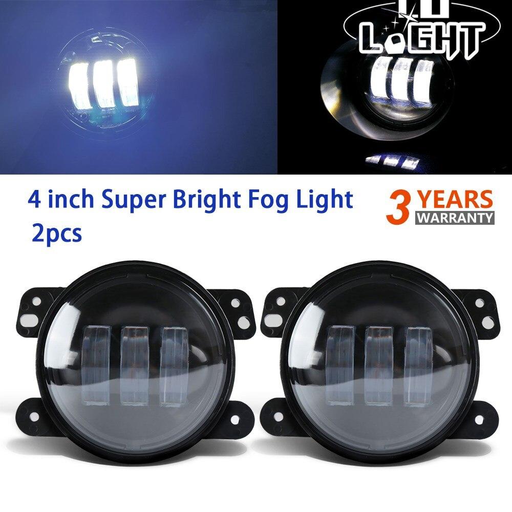 CO LIGHT 2PCS 4 inch 30W Led Fog Lamp Assembly Off Road Auto Car Light for Jeep Wrangler Dodge Journey Cruiser Chrysler 300 12V 12v led light auto headlamp h1 h3 h7 9005 9004 9007 h4 h15 car led headlight bulb 30w high single dual beam white light