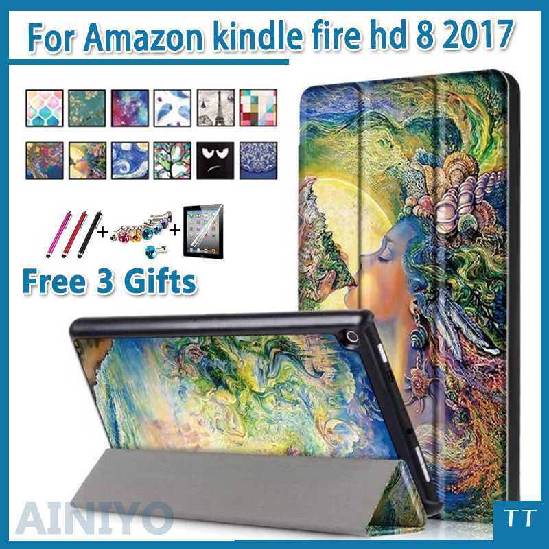 все цены на For Amazon 2017 New Kindle Fire HD 8 Painted Print PU Leather Flip Smart Cover Case For kindle fire hd8 2017 new + free 3 gifts