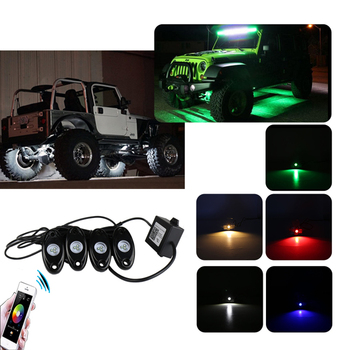 4 Pods RGB Waterproof Decoration Rock Lights Multi-Color Deck Atmosphere Lamp with Bluetooth Control Box for Offroad Boat Truck