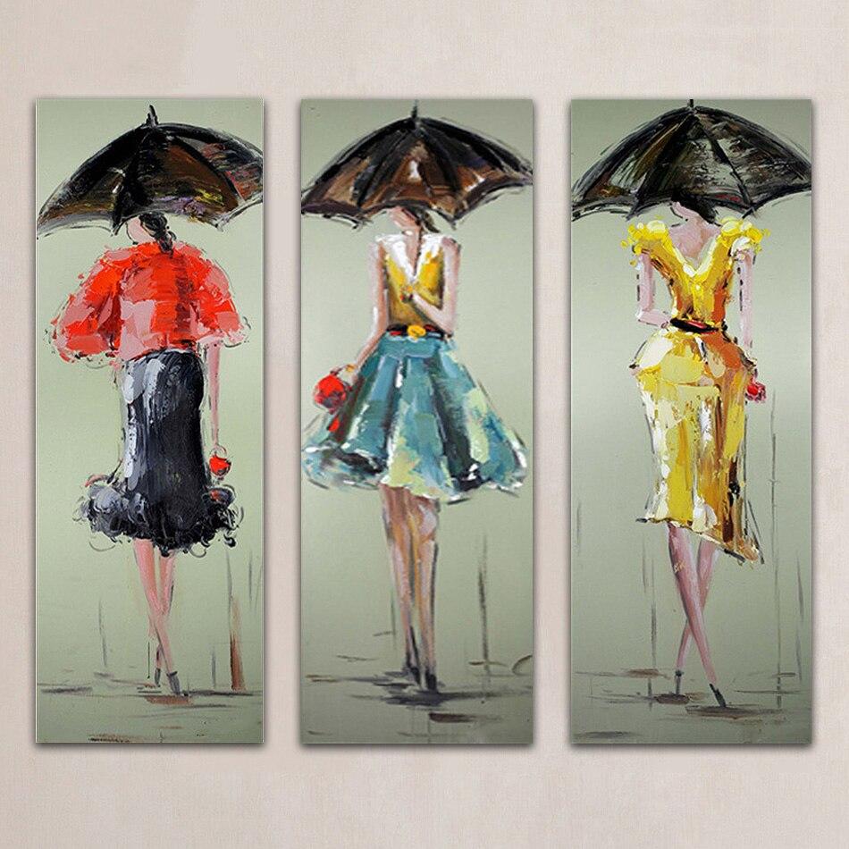 Sans cadre 3 Panneaux Sexy Femmes Peint À La Main Peinture À L'huile Moderne Mur Photo Palette Couteau Peinture Pour La Décoration des Motifs