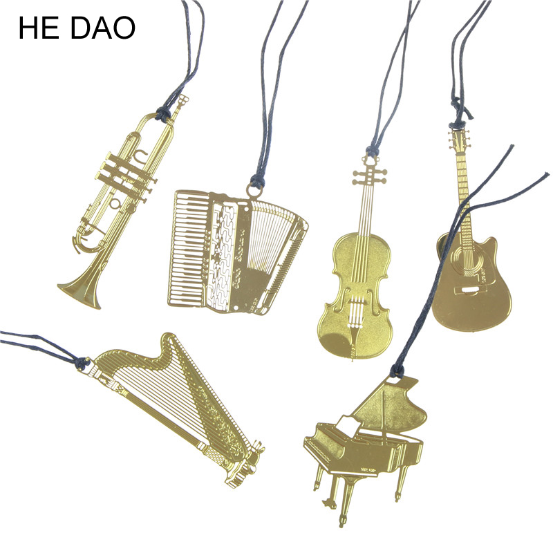 Cute Gold Metal Bookmark Fashion Music Piano Guitar Bookmark For Book Creative Gift Korean Stationery