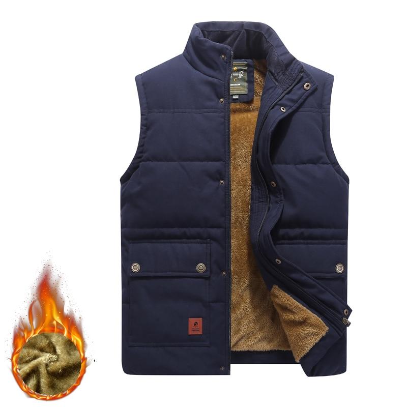 Men's Casual Fleece Vest Winter Thick Warm Sleeveless Army Military Jacket Autumn Cotton Vest Men Waistcoat Colete Masculino 6XL