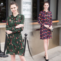 Runway Dress 2017 Women High Quality Geometric Dress Spring Summer Casual Dresses With Bow Ladies Pleated
