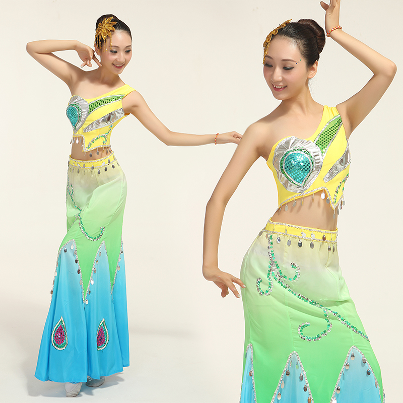 Disfraces New Woman Ethnic Dai Peacock Costumes Chinese Folk Dance Wear