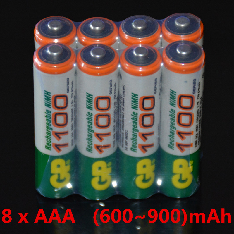 Free ship!! Hot Sale 8pcs High Power AAA /1.2V GP (600-900)mAh Rechargeable NiMH Battery  New Batteries