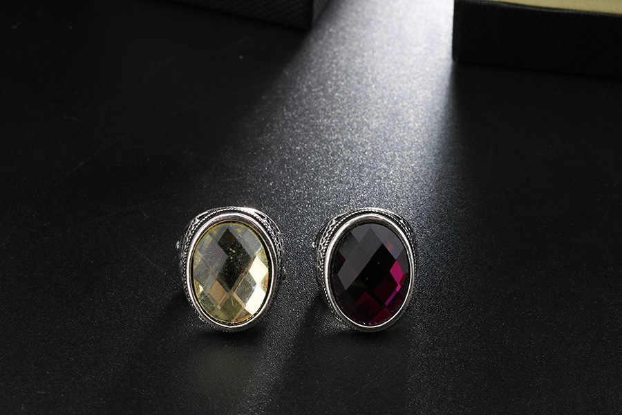 AliExpress ขายร้อน Stained Glass ยุโรปและอเมริกาหรูหรา Multi - Faceted แหวนสีม่วง