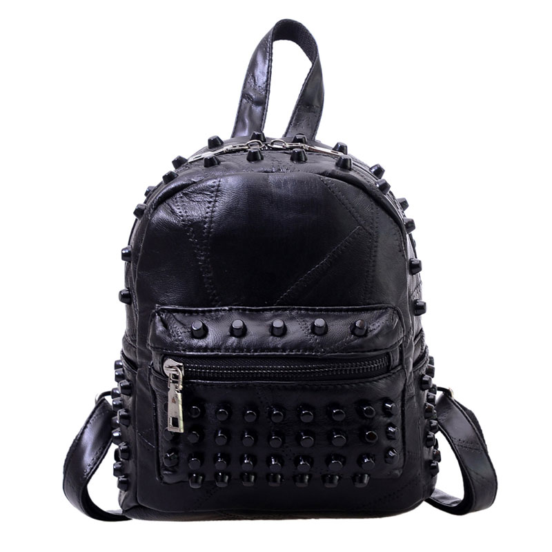 Fashion Leather Backpack Women Travel Satchel Shoulder Bag Rivet Backpack School Bag for Teenagers Mochila Feminina 1STL