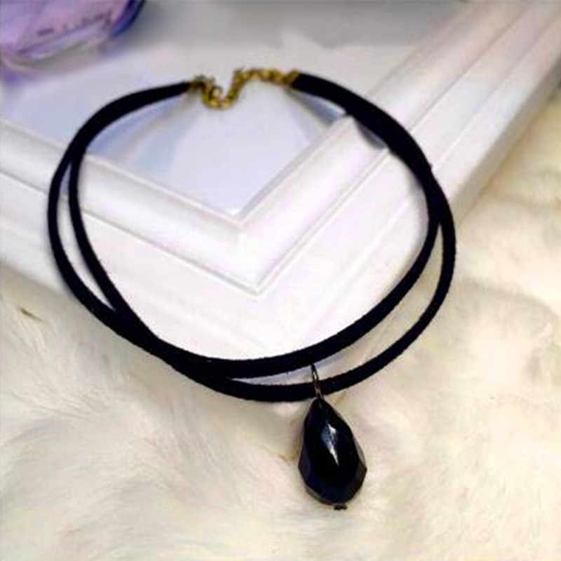 New Double Layer Black Imitation Leather Rope Choker Necklace Gothic Punk Charm waterdrop Pendant NecklaceVintage Jewelry Women