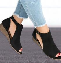 XDA 2018 woman wedge buckles fish mouth sandals gladiator women sandals mid heel sandals ladies summer peep toe women shoes W563