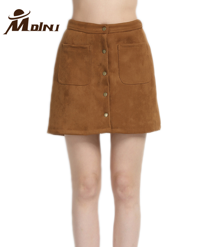 Skirts Brown Suede Mini Skirt
