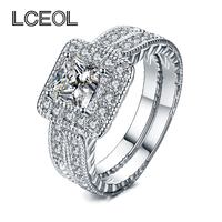 LCEOL Luxury Jewelry 2 Circles Ring Set Clear CZ Diamonds Pave Setting White Gold Color Luxury