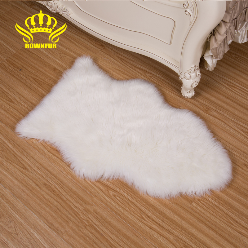 ROWNFUR Faux Fur Floor Mats Soft Artificial Sheepskins Carpet For Kids Living Room Bedroom Chair Sofa Cover Plush Washable Rugs