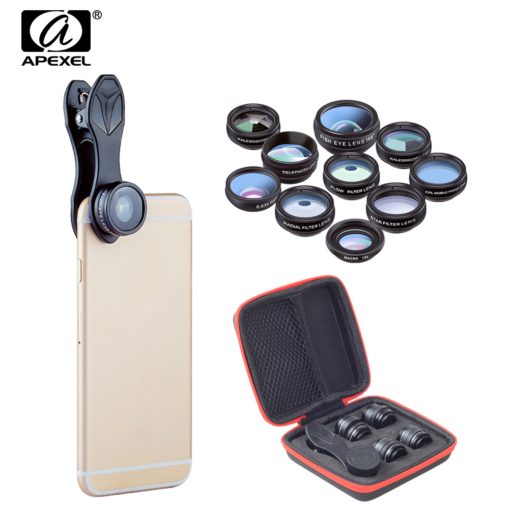 APEXEL 10in1 HD 2X Telescope Lenses Fish eye Wide Angle macro Lentes For iphone 6s 7