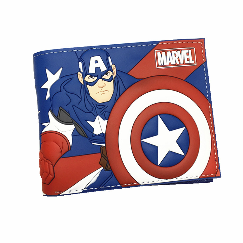 New Desigh PVC and PU Leather Anime Wallet Captain American Deadpool Spiderman Super Mario Wallets With Card Holder anime game super mario synthetic leather short exquisite wallet button purse free shipping