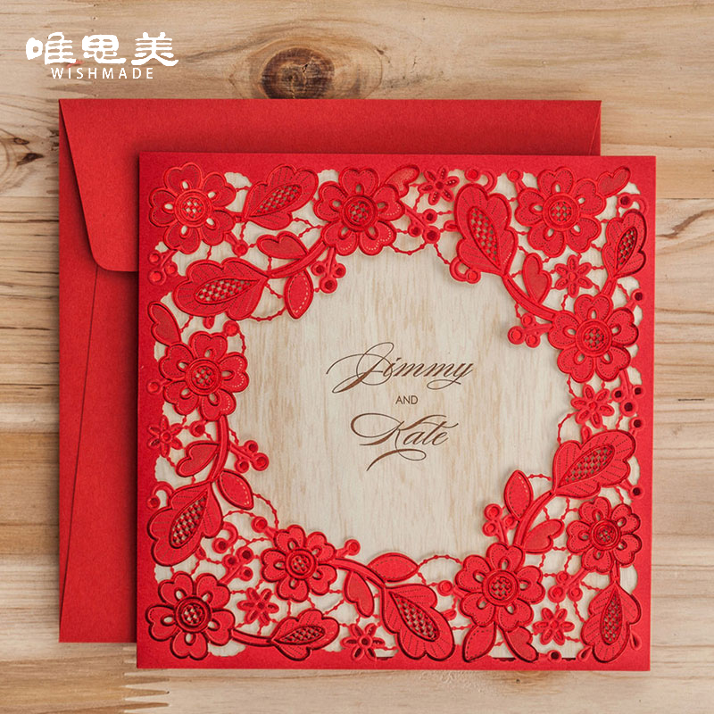 Wishmade Laser Cut Lace Invitation Card Elegant Red Hollow