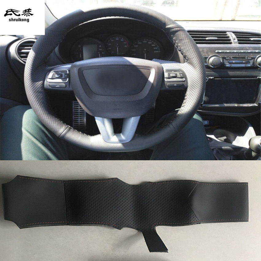 Sew-on Microfiber leather <font><b>car</b></font> steering <font><b>wheel</b></font> cover For <font><b>Seat</b></font> <font><b>Leon</b></font> <font><b>Altea</b></font> XL <font><b>Leon</b></font> Cupra 2008-2012 Toledo 2012-2014 Alhambra 2010 image