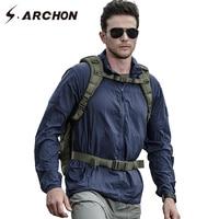 S ARCHON Lightweight Hood Tactical Jacket Men Thin Breathable Waterproof Military Raincoat Windbreaker Portable Army Skin