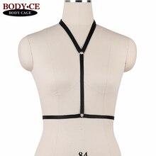 Womens Sexy Harness Lingerie Black Body Cage Bra Elastic Strappy Tops Bondage Bustier Goth Fetish Erotic Burlesque Garter Belts