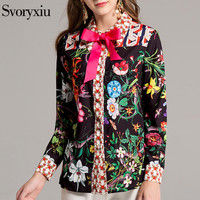 Svoryxiu 2018 Yaz Bluz Kadınlar Yüksek Kalite Uzun Kollu Ince Baskı Moda Casual Gömlek 3 renkler + Yay