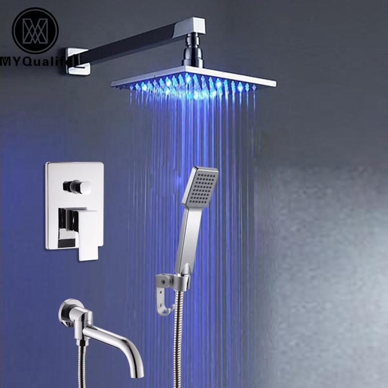 Chrom poliert Wand/Deckenmontage Led Licht Quadrat Regen Badewanne ...