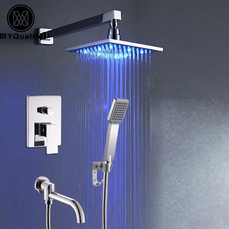 Polished Chrome Wall/Ceiling Mount Led Light Square Rain Bath and Shower Faucet Set + Handshower + Aluminum Holder Bracket poiqihy chrome rain