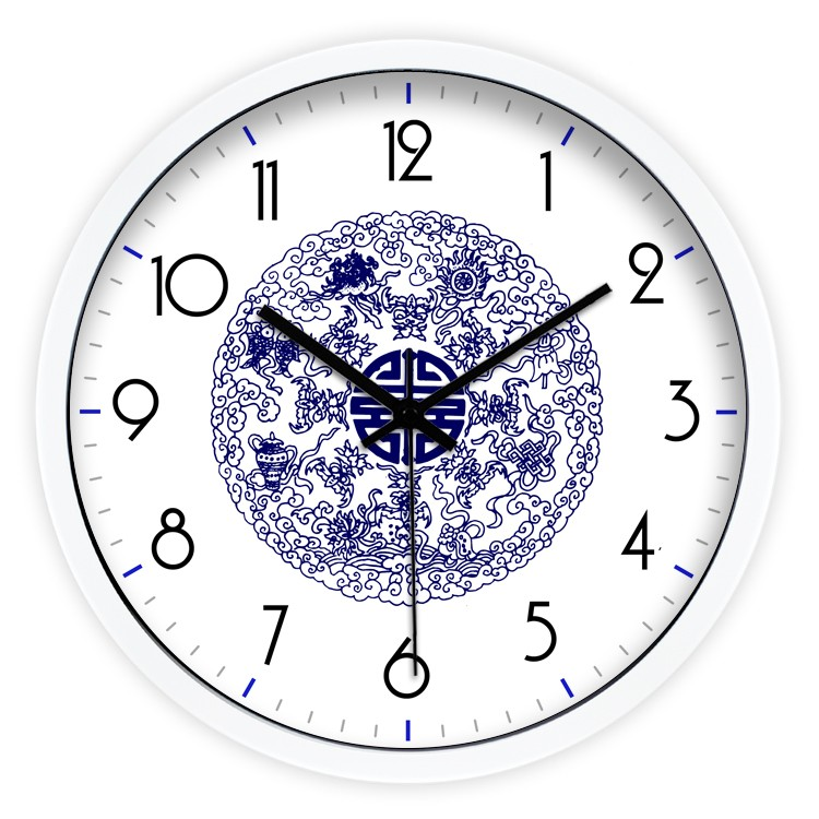 Ancient Chinese Style Wall Clock Living Room Bedroom White Black Silver Clock Wall World In Wall