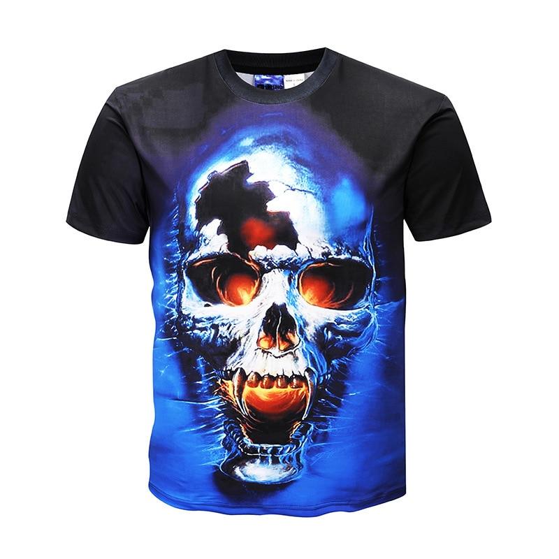 Fashion Men's 3D men man printed Print SKULL T-Shirts Funny SKULL Casual short sleeve T-Shirt mens clothing t shirts shirt homme