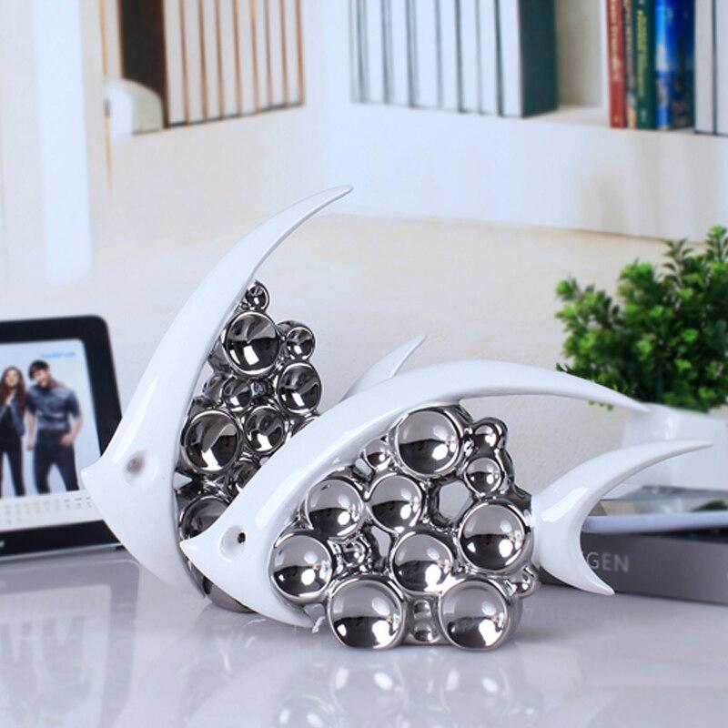 2pcs Set White Silver Ceramic Lovers Fish Home Decor