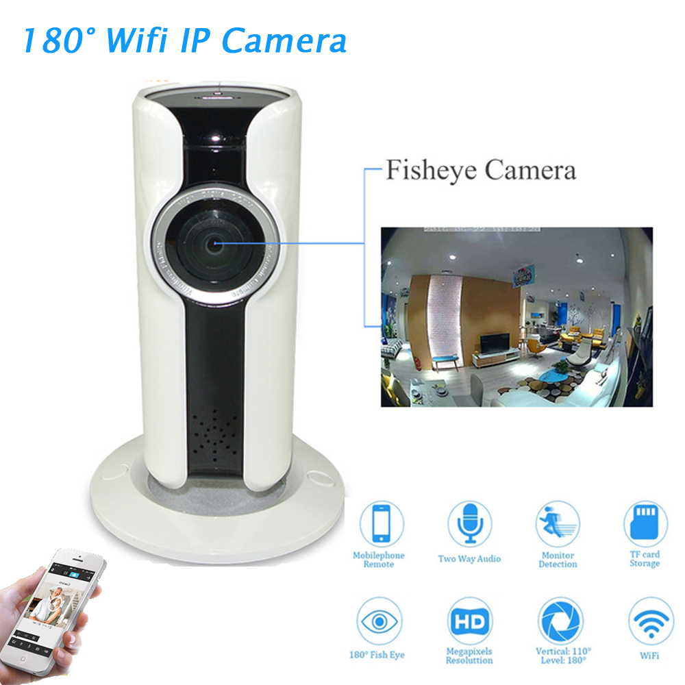 лучшая цена New 180 Degree Panorama Camera Fisheye Lens WIFI IP Camera Night Vision Motion Detection Camcorder APP Remote Control P2P Webcam